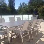 Exklusive Gartenmöbel Edelstahl - Design Tischgarnitur ALCEDO + FORNIX